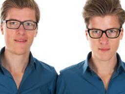 twins wearing glasses.